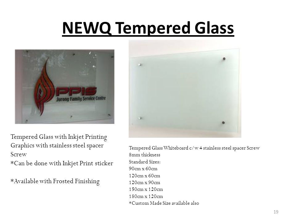 NEWQ Tempered Glass Tempered Glass with Inkjet Printing Graphics with stainless steel spacer Screw.
