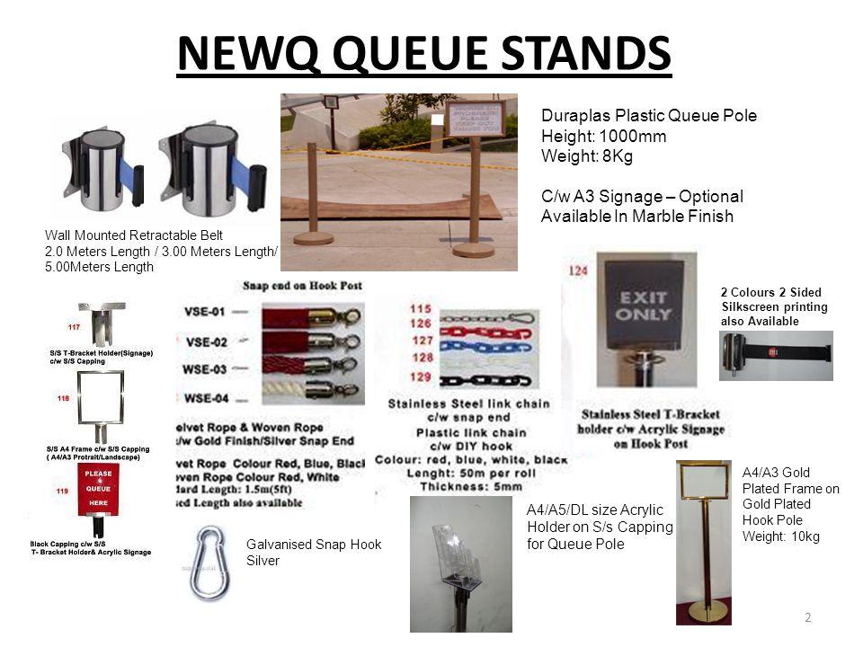 NEWQ QUEUE STANDS Duraplas Plastic Queue Pole Height: 1000mm