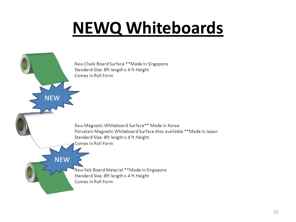 NEWQ Whiteboards NEW NEW Raw Chalk Board Surface **Made In Singapore
