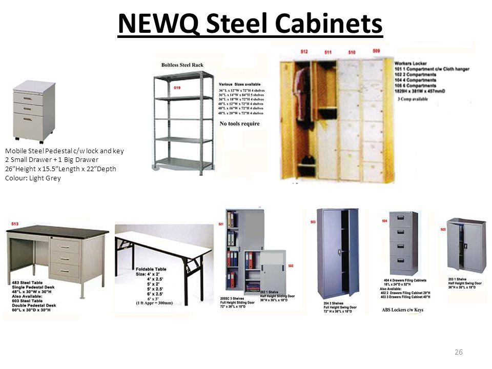 NEWQ Steel Cabinets Mobile Steel Pedestal c/w lock and key