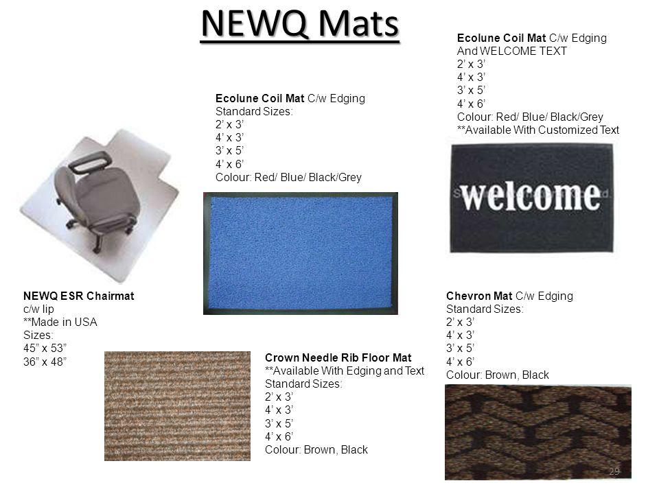 NEWQ Mats Ecolune Coil Mat C/w Edging And WELCOME TEXT 2' x 3' 4' x 3'