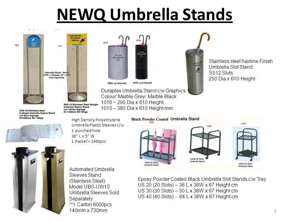 NEWQ Umbrella Stands Stainless steel hairline Finish Umbrella Slot Stand. SS12 Slots. 250 Dia x 610 Height.