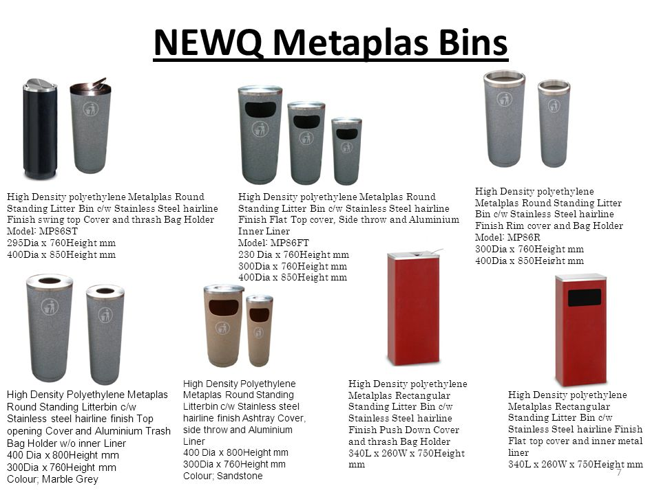 NEWQ Metaplas Bins High Density polyethylene Metalplas Round Standing Litter Bin c/w Stainless Steel hairline Finish Rim cover and Bag Holder.
