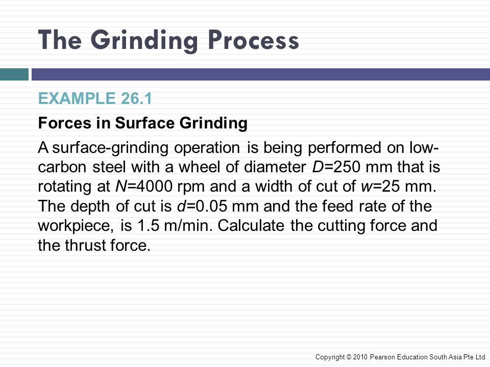 The Grinding Process EXAMPLE 26.1 Forces in Surface Grinding