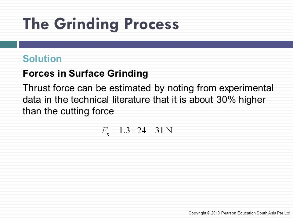 The Grinding Process Solution Forces in Surface Grinding