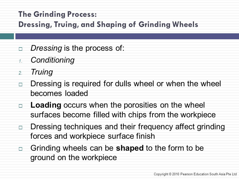 The Grinding Process: Dressing, Truing, and Shaping of Grinding Wheels