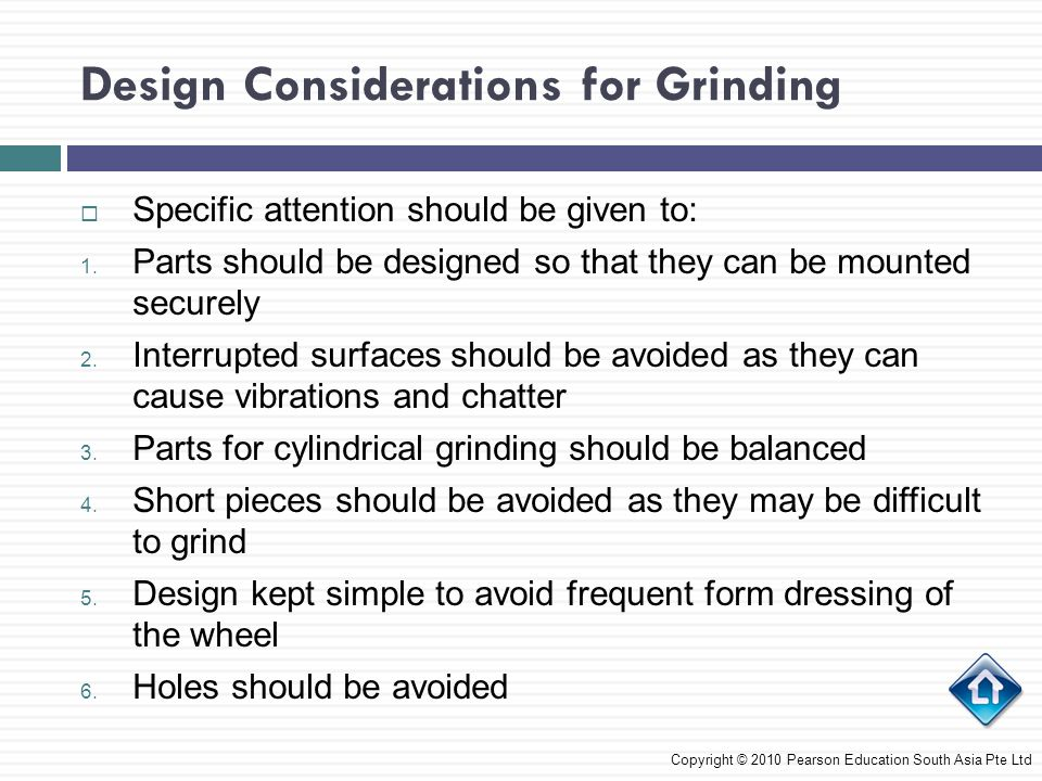 Design Considerations for Grinding
