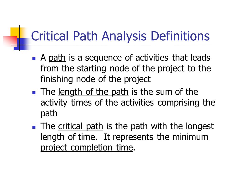 Critical Path Analysis Definitions