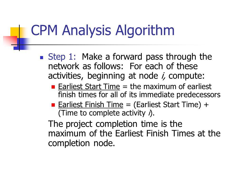 CPM Analysis Algorithm