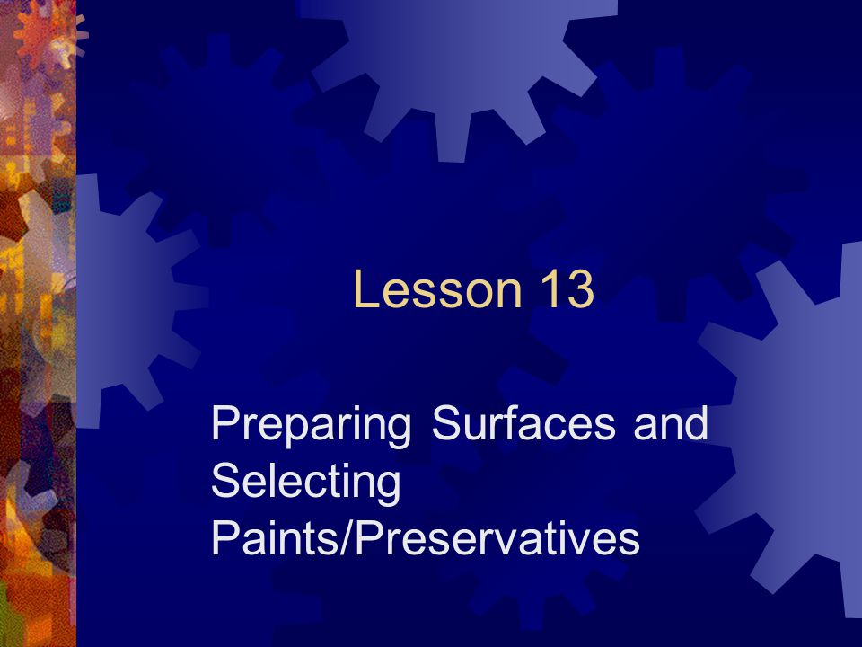 Preparing Surfaces and Selecting Paints/Preservatives