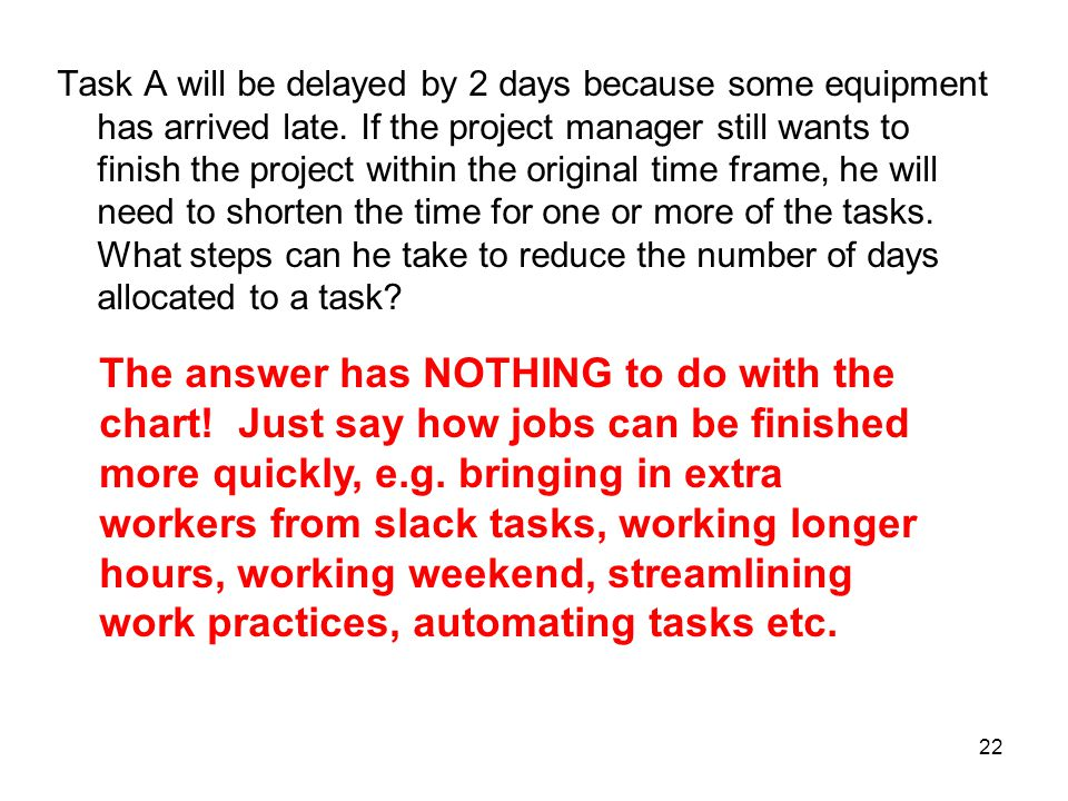 Task A will be delayed by 2 days because some equipment has arrived late. If the project manager still wants to finish the project within the original time frame, he will need to shorten the time for one or more of the tasks. What steps can he take to reduce the number of days allocated to a task