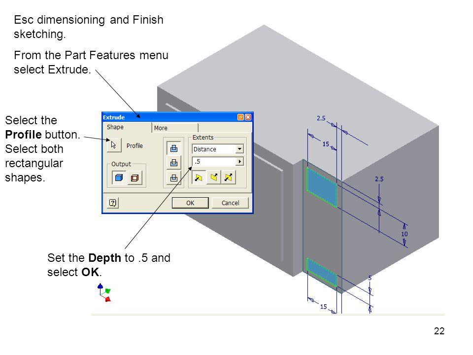 Esc dimensioning and Finish sketching.