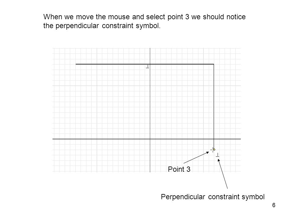 When we move the mouse and select point 3 we should notice the perpendicular constraint symbol.