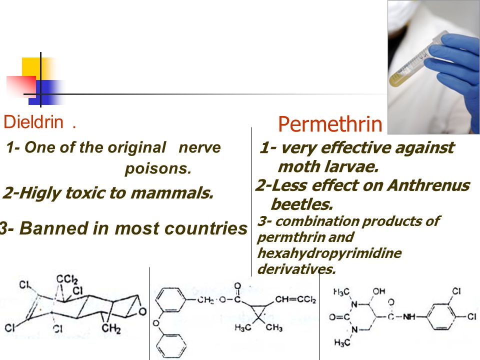 Permethrin . Dieldrin . 3- Banned in most countries