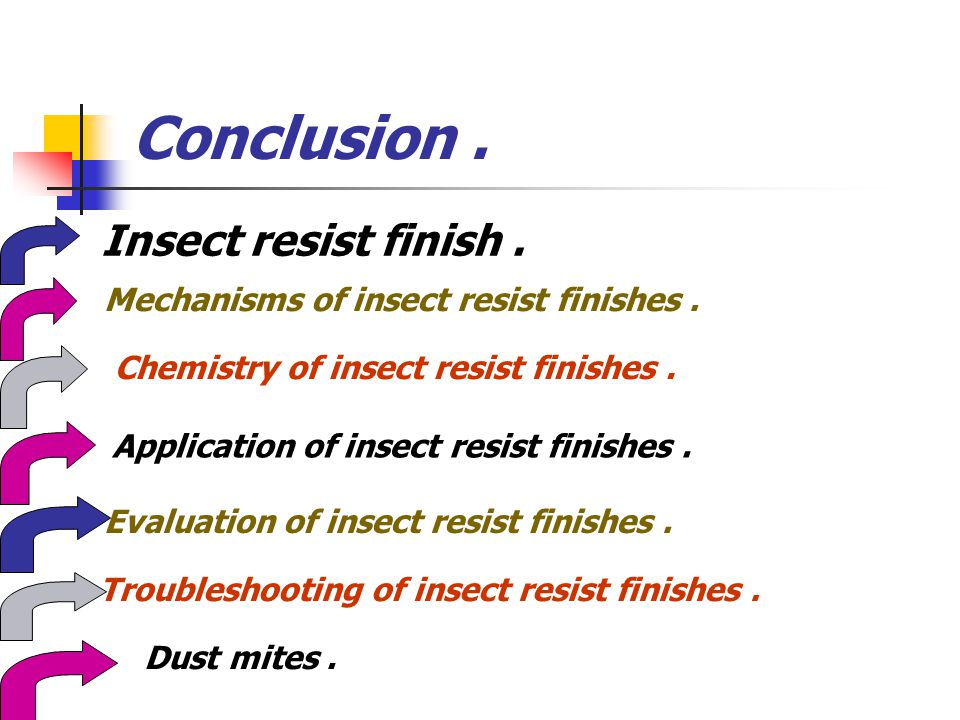 Conclusion . Insect resist finish .