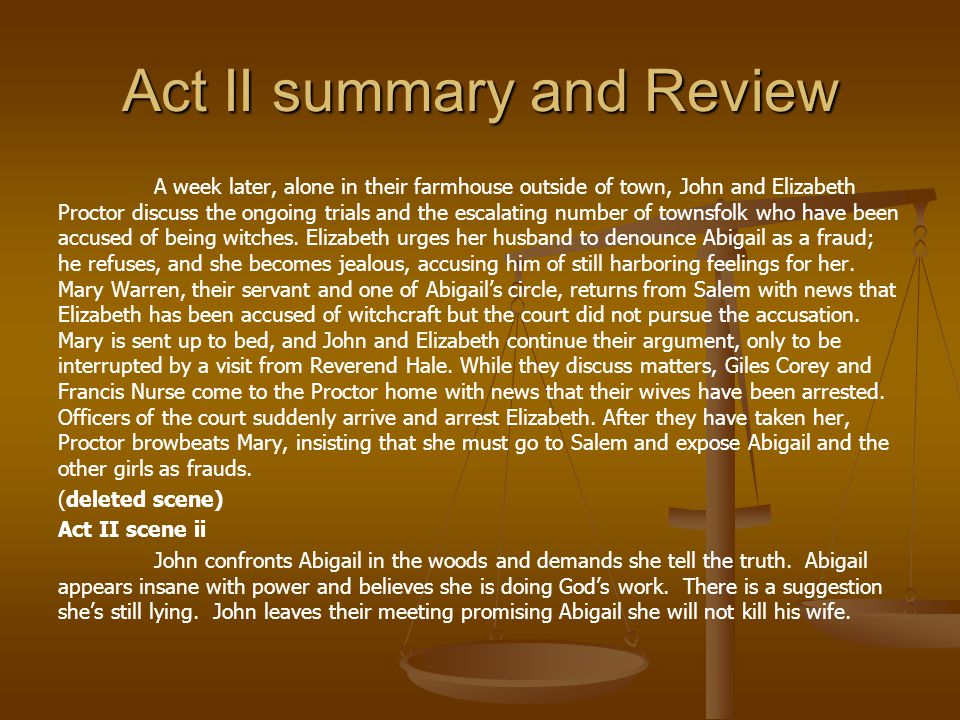 Act II summary and Review