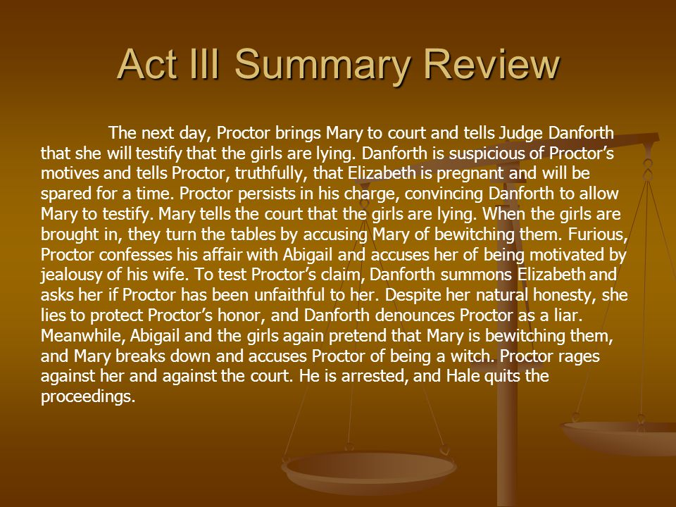 Act III Summary Review