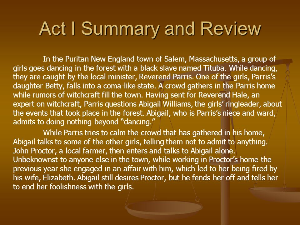Act I Summary and Review