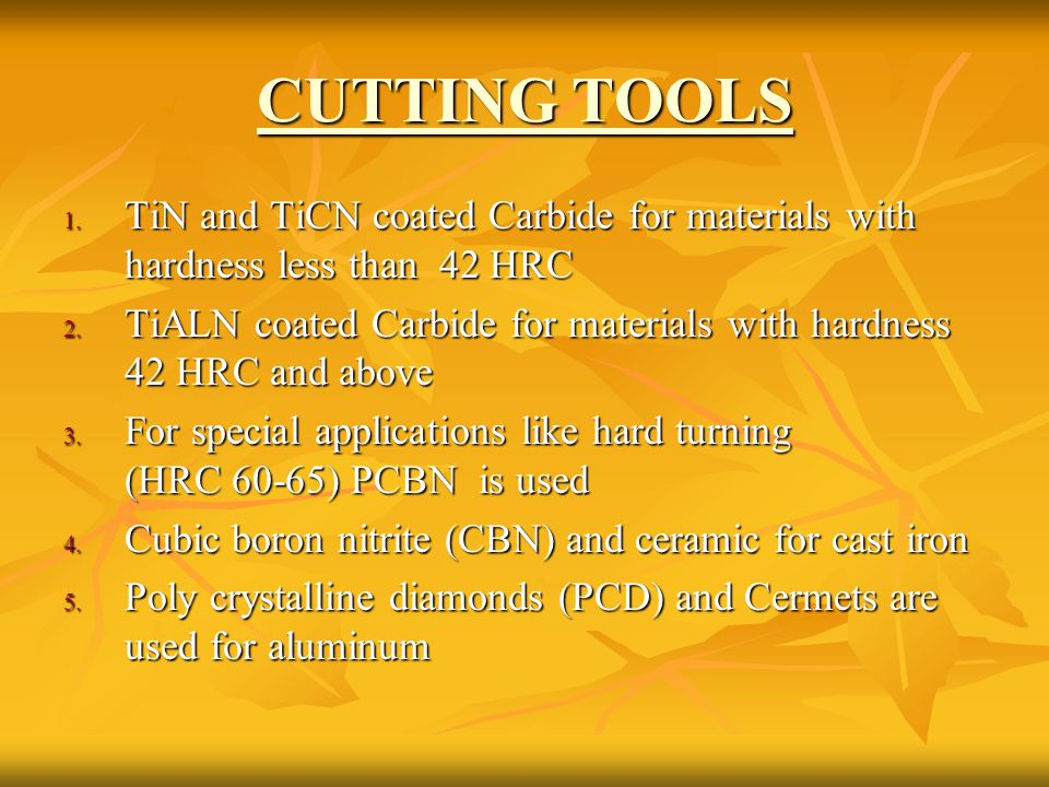 CUTTING TOOLS TiN and TiCN coated Carbide for materials with hardness less than 42 HRC.