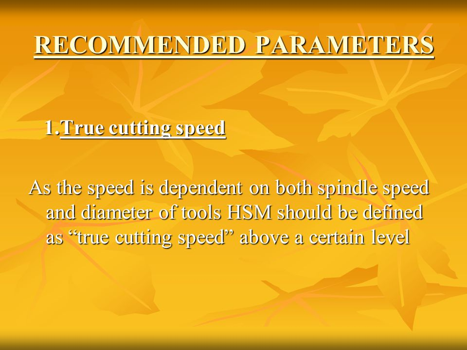 RECOMMENDED PARAMETERS