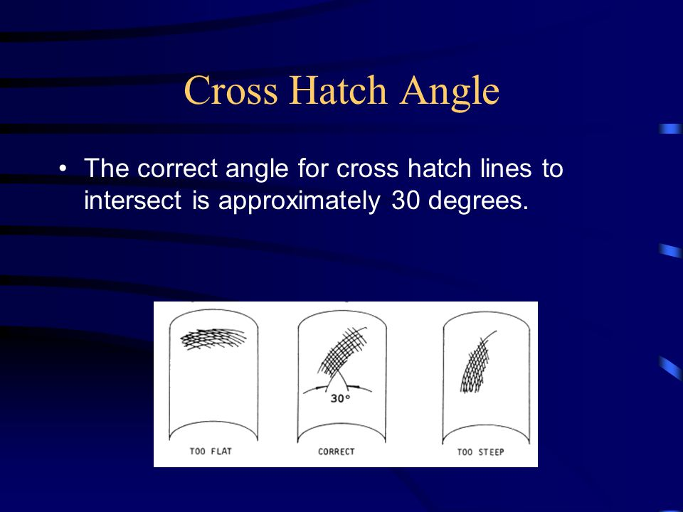 Cross Hatch Angle The correct angle for cross hatch lines to intersect is approximately 30 degrees.