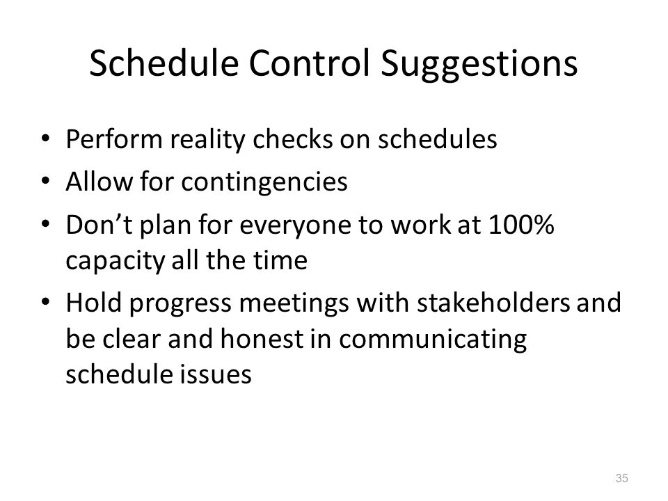Schedule Control Suggestions