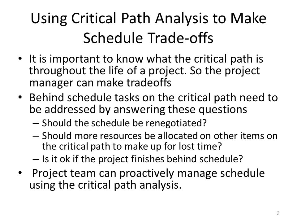 critical path analysis its use and The critical path method, or analysis, was developed in conjunction with pert both techniques are used to manage projects within a specific timeframe the critical path method calculates the longest path that is possible with your planned activities, then figures out the time constraints that each activity is under.