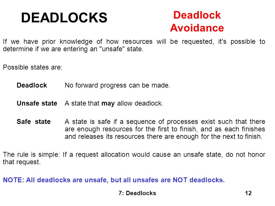 DEADLOCKS Deadlock Avoidance
