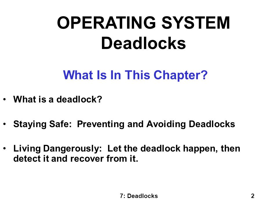 OPERATING SYSTEM Deadlocks