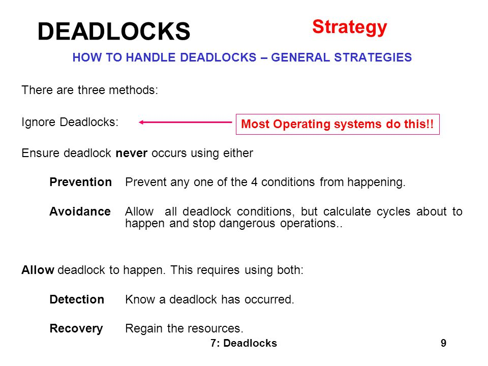 HOW TO HANDLE DEADLOCKS – GENERAL STRATEGIES