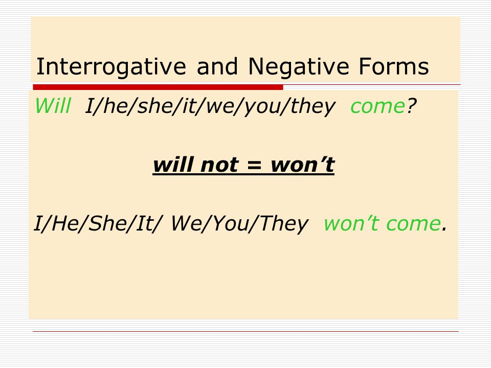 Interrogative and Negative Forms