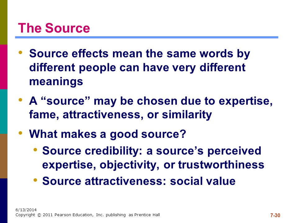 The Source Source effects mean the same words by different people can have very different meanings.
