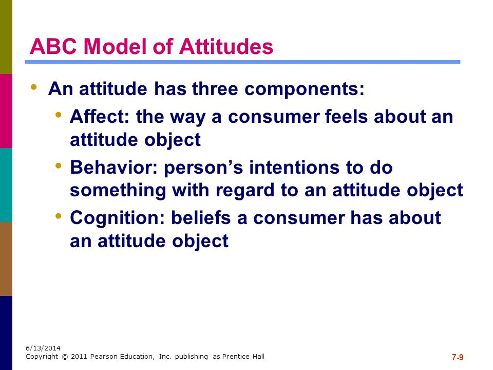 ABC Model of Attitudes An attitude has three components: