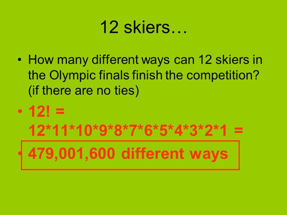 12 skiers… 12! = 12*11*10*9*8*7*6*5*4*3*2*1 =