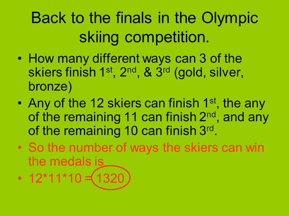 Back to the finals in the Olympic skiing competition.