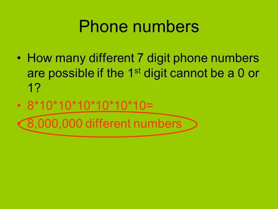 Phone numbers How many different 7 digit phone numbers are possible if the 1st digit cannot be a 0 or 1