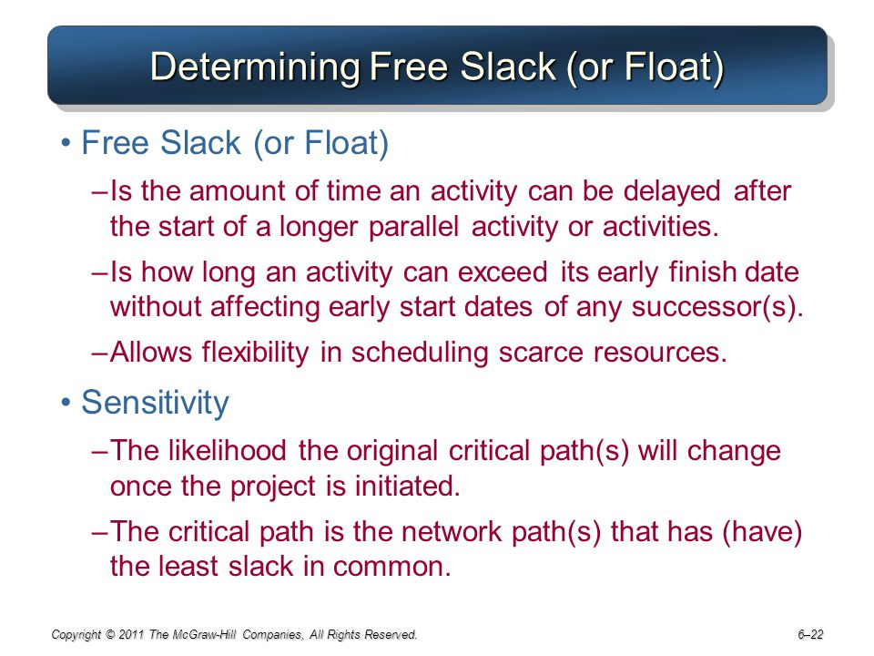 Determining Free Slack (or Float)