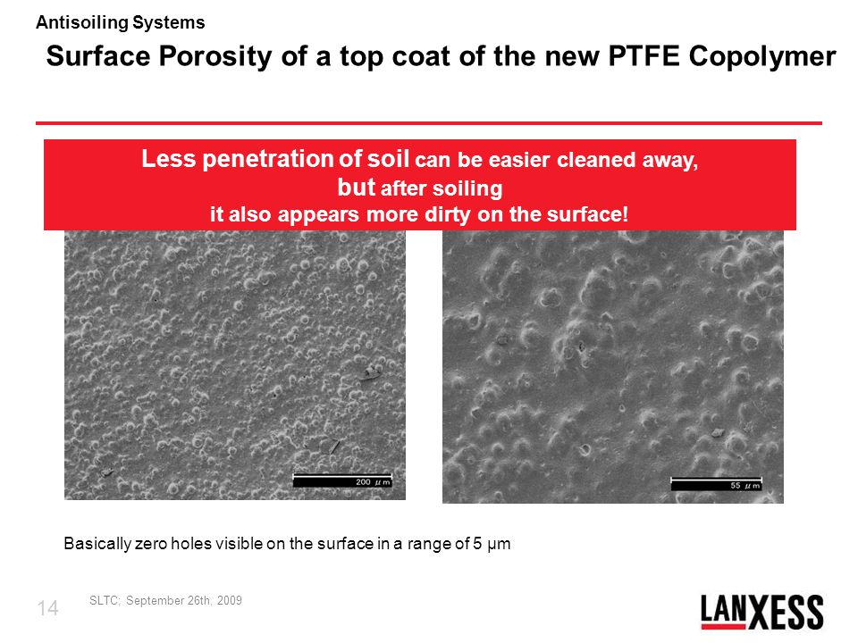Surface Porosity of a top coat of the new PTFE Copolymer