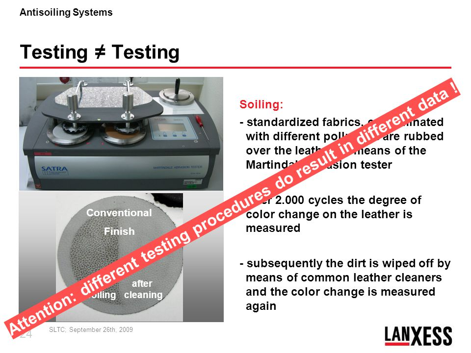 Attention: different testing procedures do result in different data !