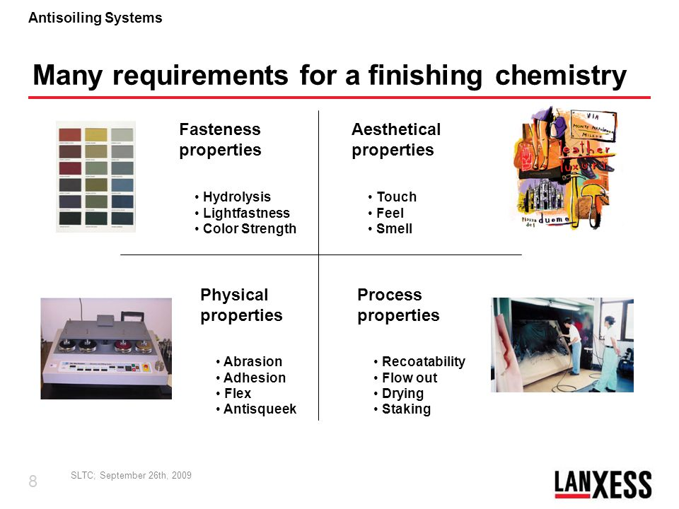 Many requirements for a finishing chemistry