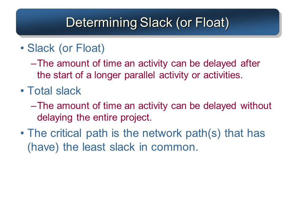 Determining Slack (or Float)