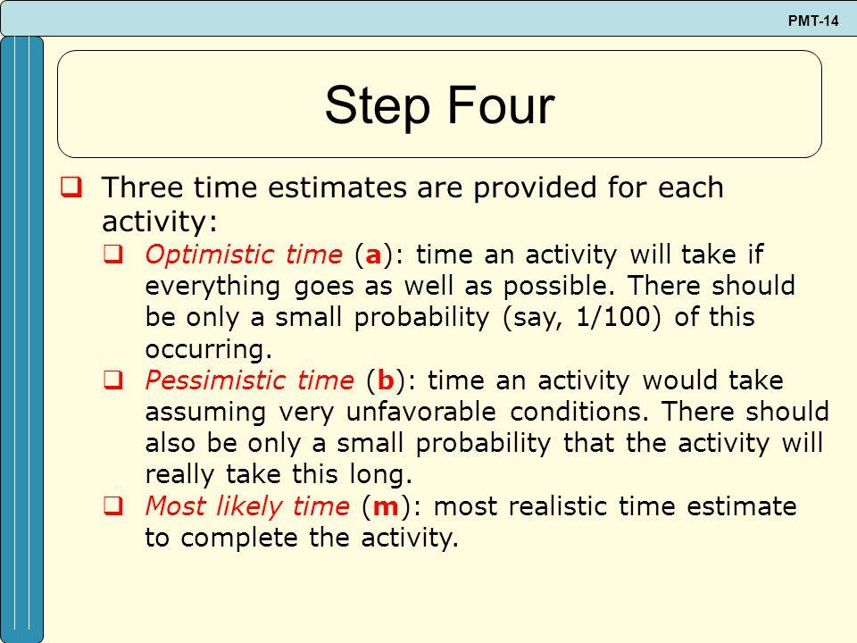Step Four Three time estimates are provided for each activity: