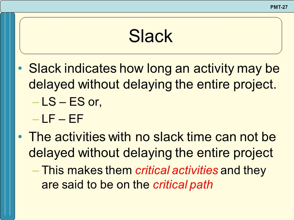 Slack Slack indicates how long an activity may be delayed without delaying the entire project. LS – ES or,