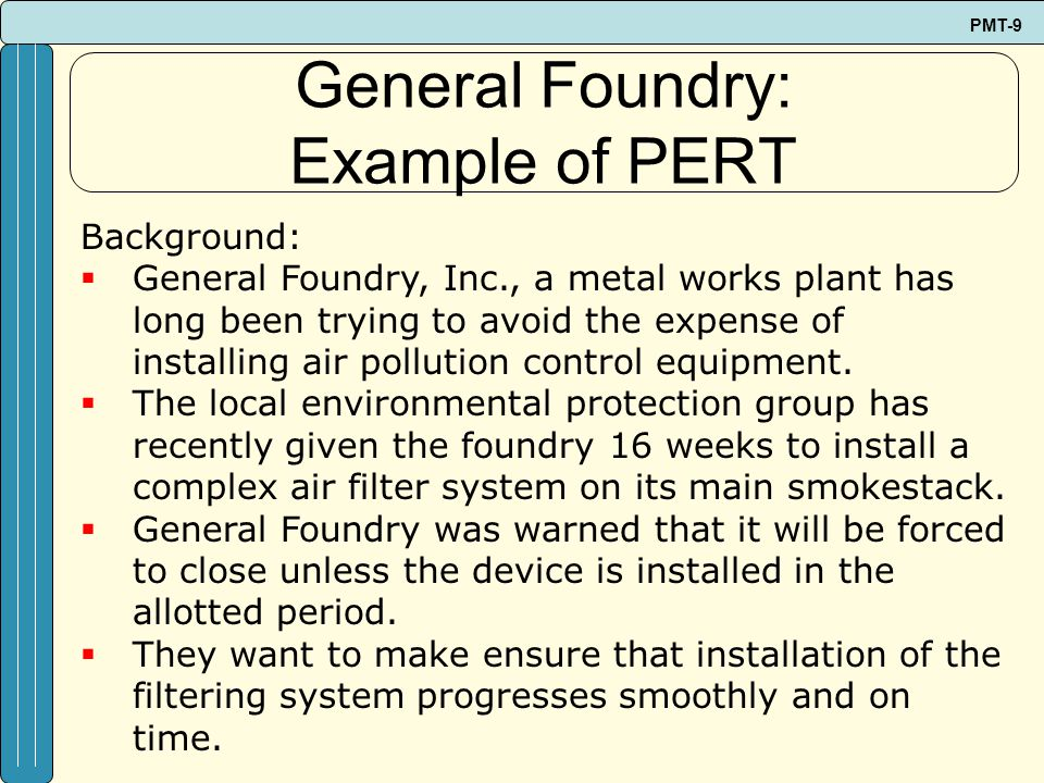 General Foundry: Example of PERT