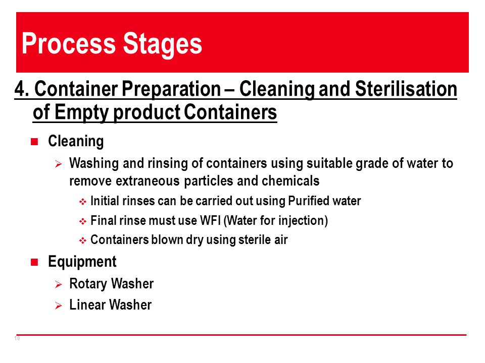 Process Stages 4. Container Preparation – Cleaning and Sterilisation of Empty product Containers. Cleaning.