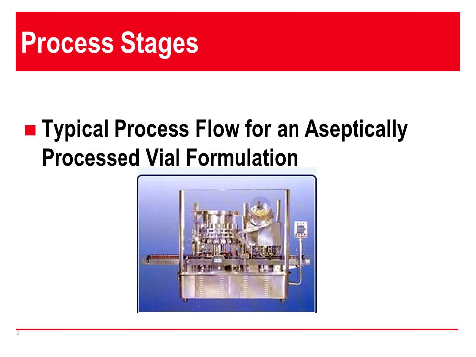 Process Stages Typical Process Flow for an Aseptically Processed Vial Formulation