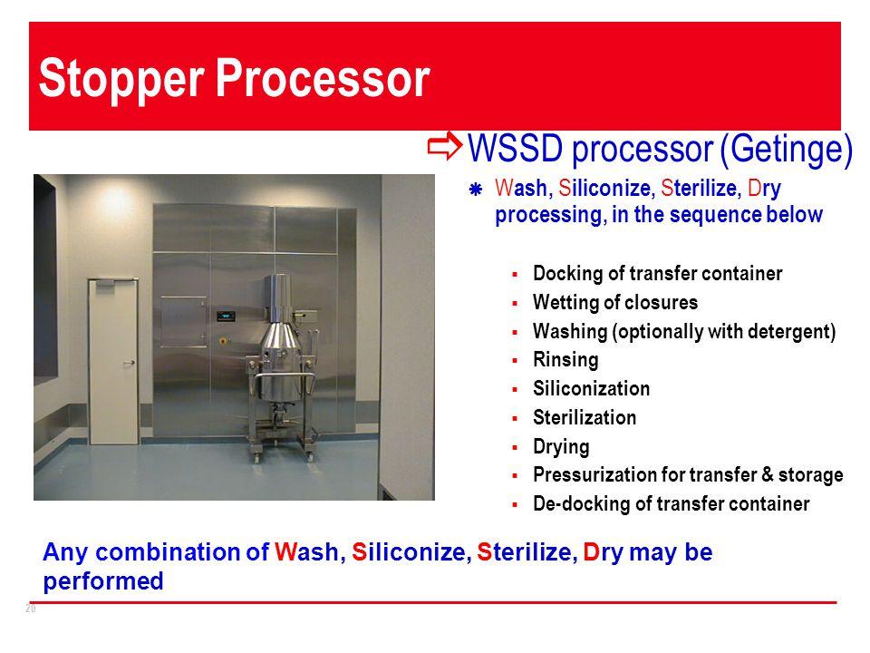 Stopper Processor Operation WSSD processor (Getinge)