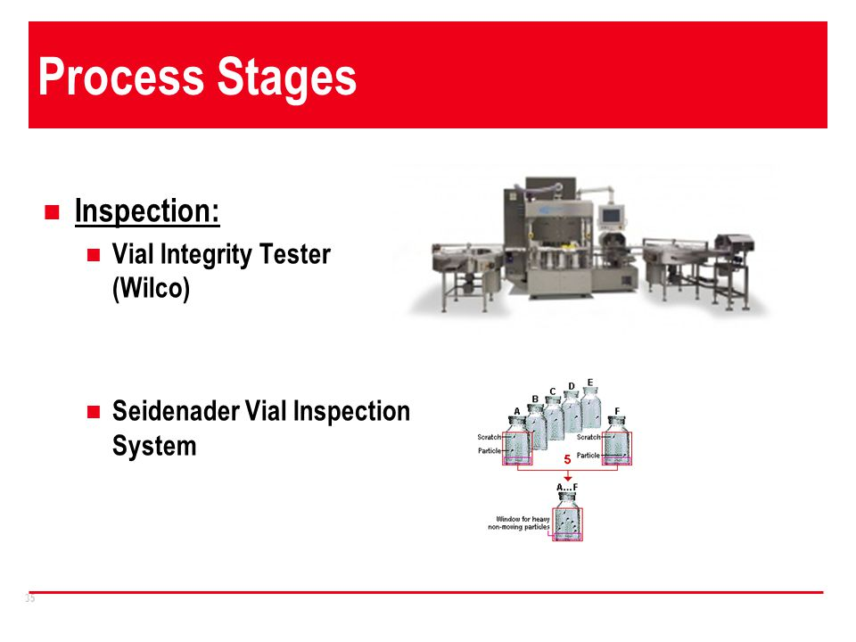 Process Stages Inspection: Vial Integrity Tester (Wilco)