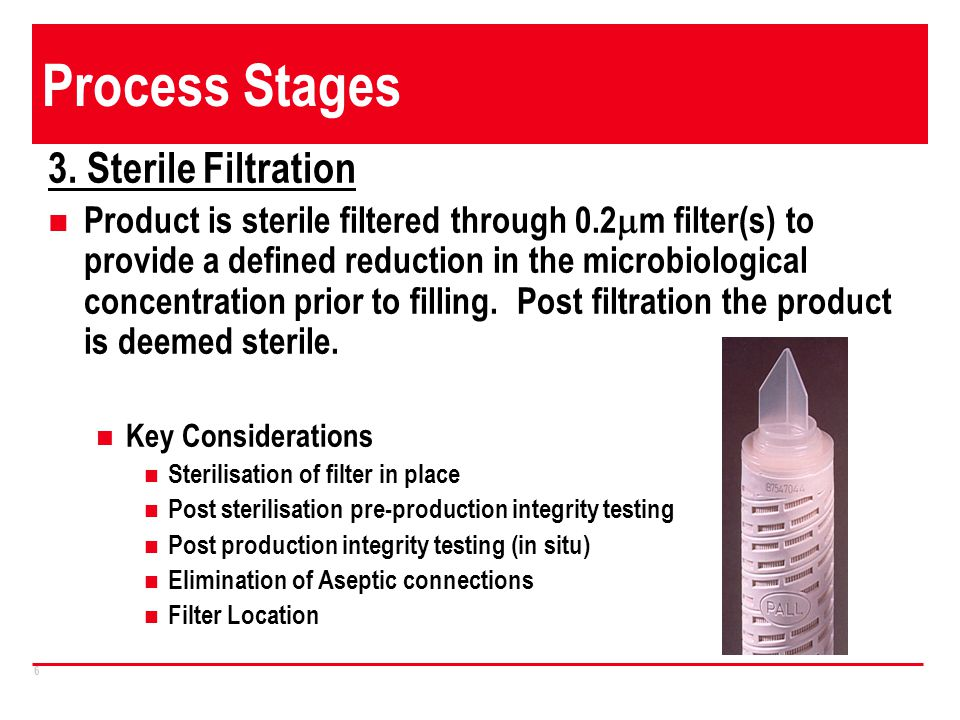 Process Stages 3. Sterile Filtration