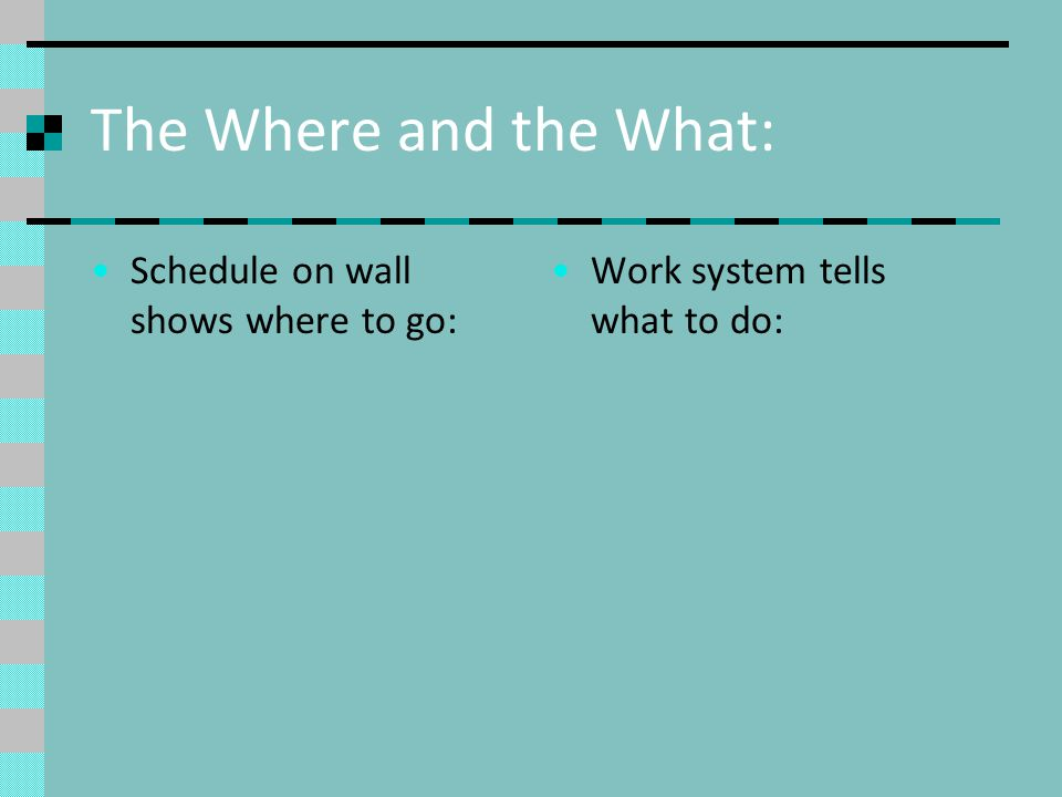 The Where and the What: Schedule on wall shows where to go: